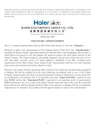 voluntary announcement - Haier Electronics Group