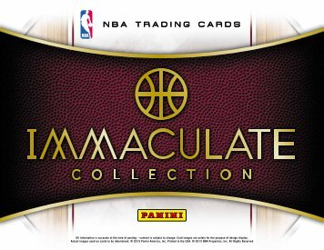 2012-13 Panini Immaculate Basketball Product Information Sheet