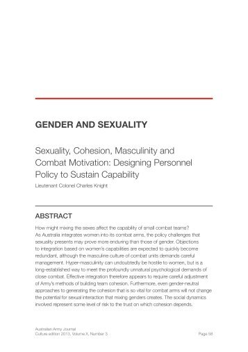 Sexuality, Cohesion, Masculinity, and Combat ... - Australian Army
