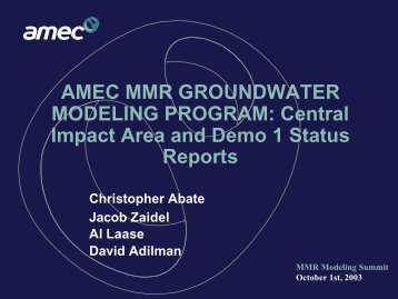 DEMO 1 - Impact Area Groundwater Study Program