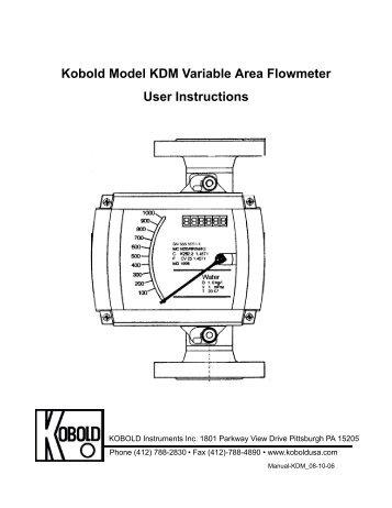 Kobold Model KDM Variable Area Flowmeter User Instructions