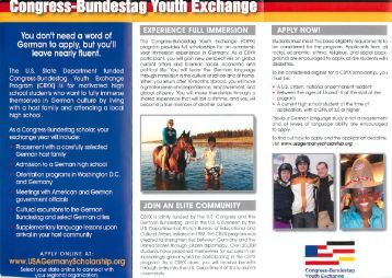 Congress-Bundestag Youth Exchange Brochure