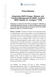 Integriertes SAP® Change-, Release - Galileo Group AG