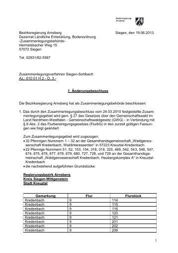 Amt für Agrarordnung Siegen, den 12.03.1999 - Kreuztal