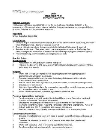 UNITY JOB DESCRIPTION EXECUTIVE DIRECTOR Position .