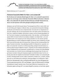 Medienmitteilung KBNL 110121 Fehlende finanzielle Mittel für Natur ...
