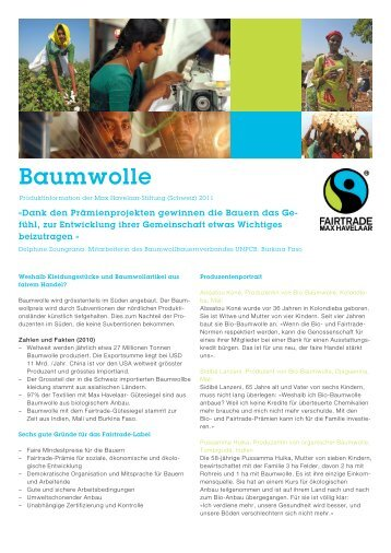 Factsheet Baumwolle PDF, 798 KB - Max Havelaar Switzerland