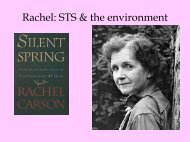 Rachel: STS & the environment - Webpages at SCU