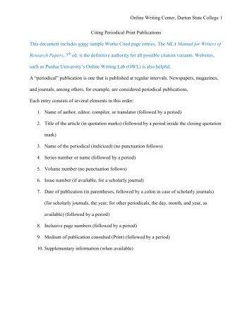 Citing Periodical Publications MLA - Darton College