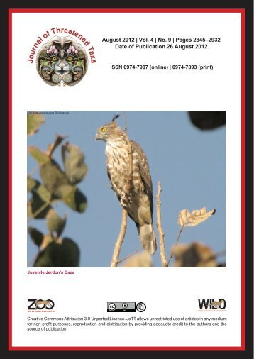 August 2012 - Journal of Threatened Taxa
