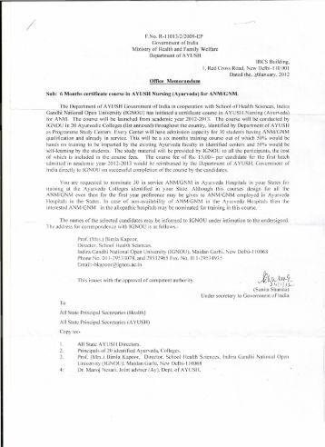 Six Months certificate course in Ayush Nursing (Ayurveda