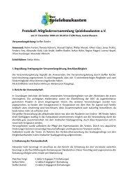 Protokoll: Mitgliederversammlung Spielebaukasten e.V.