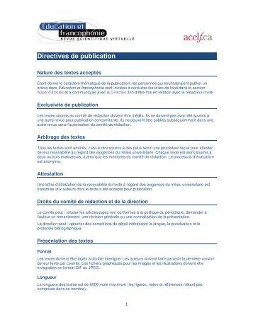 Revue Éducation et francophonie : directives de publication - acelf