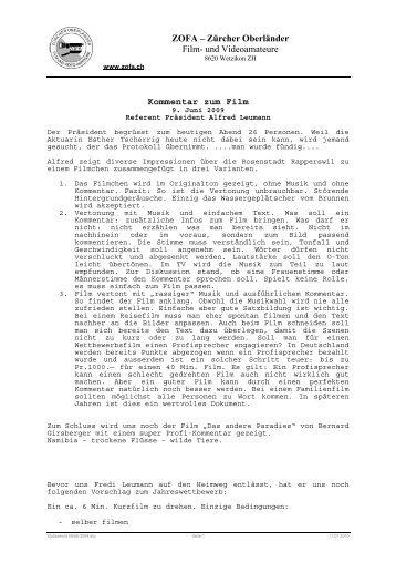 Kommentar zum Film von Alfred Leumann - ZOFA