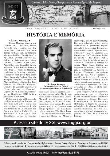 Informativo IHGGI - Edição Nº 6 - IHGGI - Instituto Histórico ...