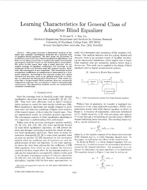 Learning Characteristics for General Class of Adaptive Blind Equalizer