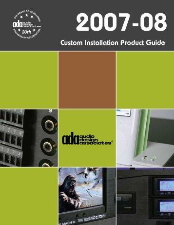 Custom Installation Product Guide - Audio Design Associates