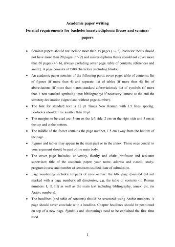 Formale Anforderungen an die Bachelorarbeit:
