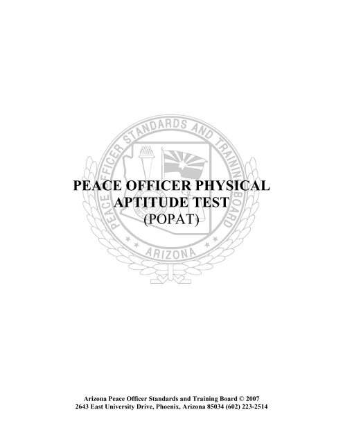 peace officer physical aptitude test (popat) - Arizona Peace