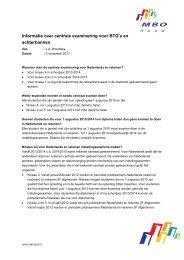 Informatie over centrale examinering voor BTG's en ... - MBO Raad