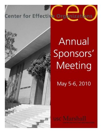 Report on CEO's 2010 Sponsors' Meeting - Center for Effective ...