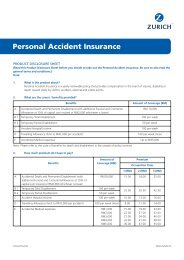 AWZUIN032 PDS - Personal Accident Insurance - Zurich