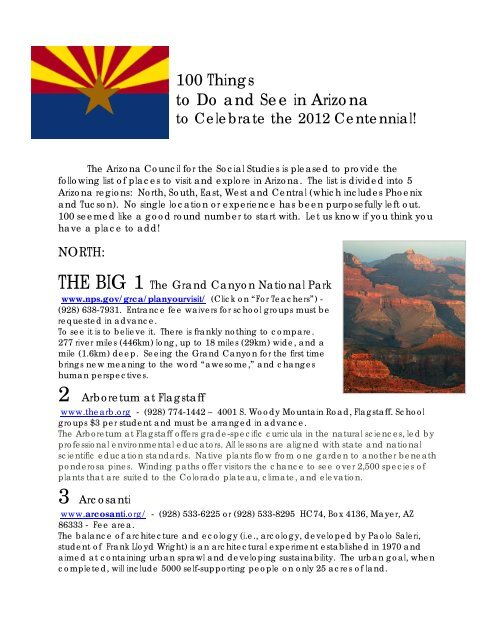 100 Things to Do and See in Arizona - Arizona Council for