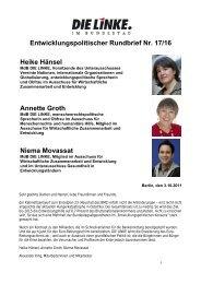 Entwicklungspolitischer Rundbrief Nr. 17/16 Heike ... - Annette Groth