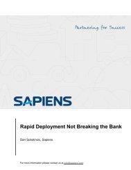 Rapid Deployment Not Breaking the Bank - Sapiens