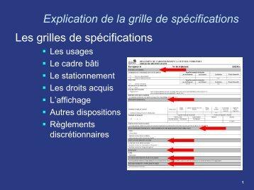 Explication de la grille de spécifications