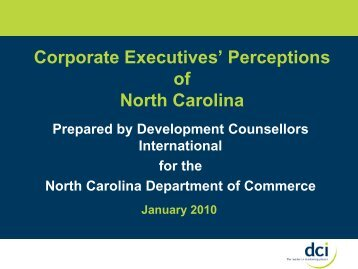 Corporate Executives' Perceptions of North Carolina - Strategic ...