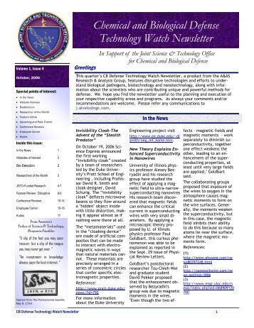Chemical and Biological Defense Technology Watch Newsletter