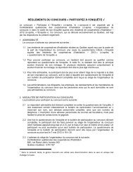 RÈGLEMENTS DU CONCOURS « PARTICIPEZ À l'ENQUÊTE »1