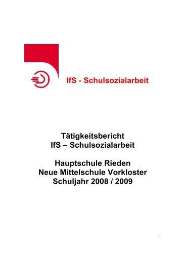 Schulsozialarbeit Tätigkeitsbericht IfS – Schulsozialarbeit Hauptschule