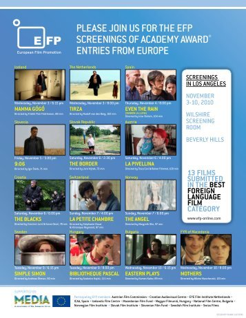 Please join us for the efP screenings of academy award ... - AIC