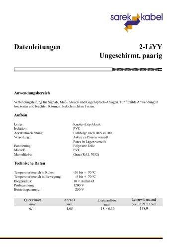 2-LiYY Ungeschirmt, paarig Datenleitungen