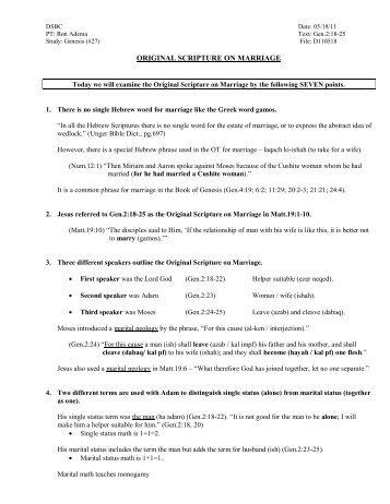 original scripture on marriage - Doctrinal Studies Bible Church