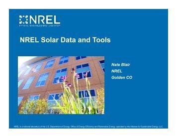 NREL Solar Data and Tools - The Vote Solar Initiative