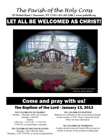 Jan 13, 2013 – Baptism of the Lord - Parish of the Holy Cross