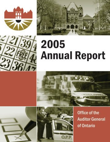 2005 Annual Report of the Office of the Auditor General of Ontario