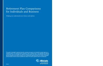 Retirement Plan Comparisons for Individuals and ... - AccessAllstate