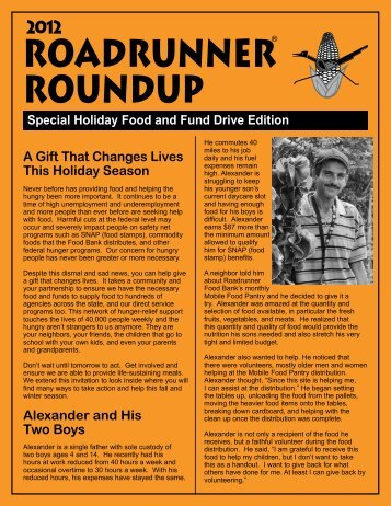 Special Holiday Food and Fund Drive Edition 2012 - Roadrunner ...