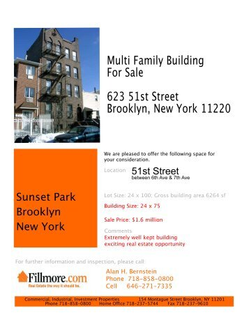 For Sale 623 51st Street Brooklyn, New York - Alan H. Bernstein ...
