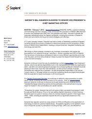sapient.com FOR IMMEDIATE RELEASE SAPIENT'S BILL ...