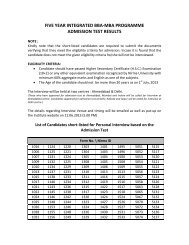 five year integrated bba-mba programme admission test results