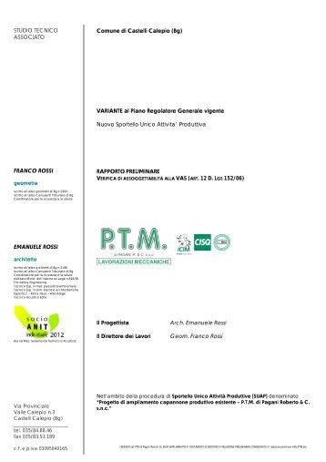 01 relazione preliminare VAS_PTM.pdf - Comune di Castelli Calepio
