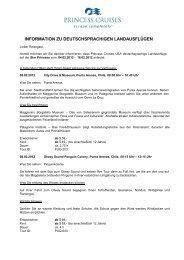 information zu deutschsprachigen landausflügen - Princess Cruises