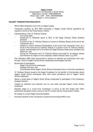 Black Economic Empowerment transaction - Announcement - Sappi