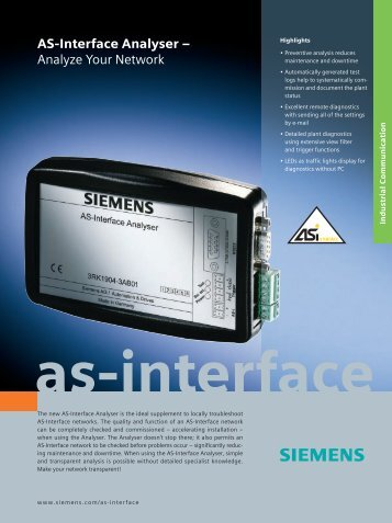 AS-Interface Analyser – Analyze Your Network - Siemens
