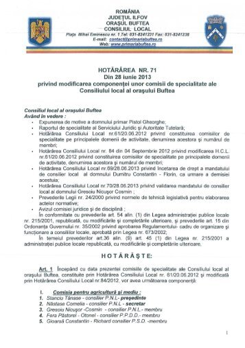 HOTĂRÂREA NR. 71 Din 28 iunie 2013 privind ... - Primaria buftea